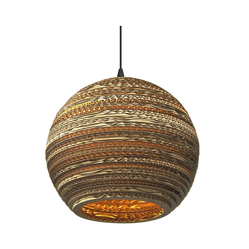 Buy moon brown pendant lights paper ball pendant lamp for bedroom coffee bar - Paper lighting fixtures ...