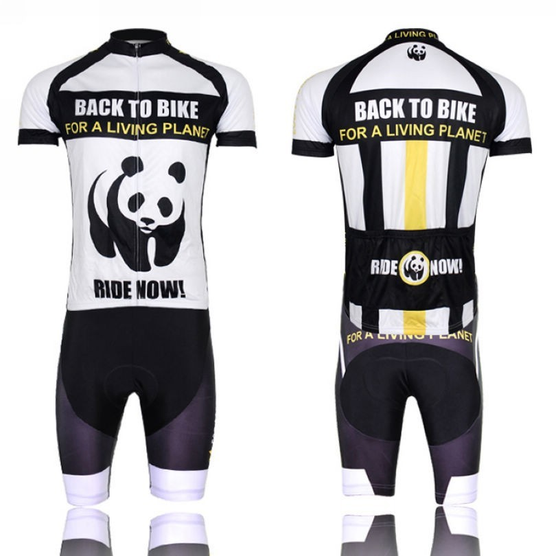 ФОТО High Quality Panda Style Cycling Bike Clothing jersey Bicycle bike wear Short Sleeve cycling Jersey