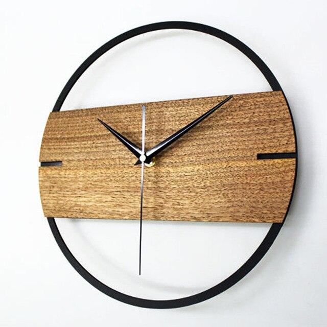 Jam Dinding Vintage Desain Modern Sederhana Kayu Jam untuk Kamar Tidur 3D  Stiker Dinding Kayu Menonton 57665608ed