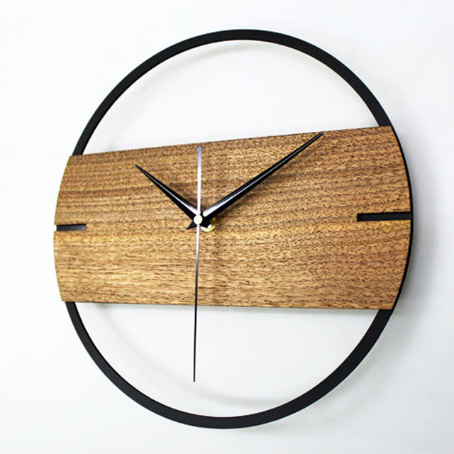 Vintage Wanduhr Einfache Moderne Design Holz Uhren Für Schlafzimmer 3D  Aufkleber Holz Wand Uhr Wohnkultur Stille