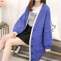 Korean Style Knitwears Spring Autumn 2019 Casual Panelled Patchwork Long Cardigans Knitted Outwear Ladies Sweaters Women Coats