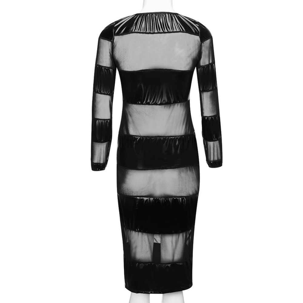 Новые женские кожаные мокрое красивое сексуальное Сетчатое обтягивающее платье с длинными рукавами сексуальные эротические костюмы Babydoll