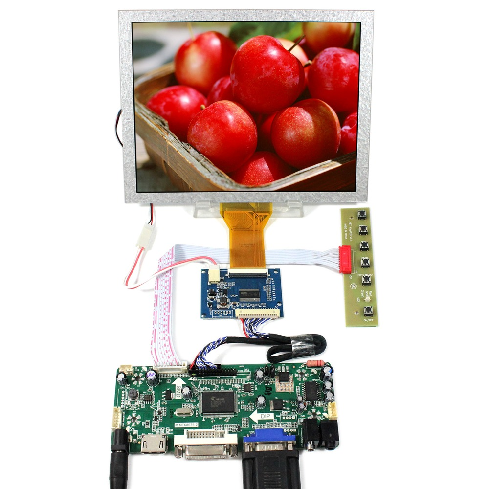HDMI+VGA+DVI+Audio LCD Controller Board With 8inch 800x600 EJ080NA-05A LCD Panel hdmi vga 2av reversing lcd driver board work for 8inch at080tn52 ej080na 05a ej080na 05b 800 600 lcd panel