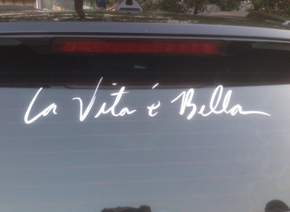 40cm8cm la vita e bella car stickers vinyl decal personality car decoration styling accessories for volkswagen toyota chevrolet in car stickers from