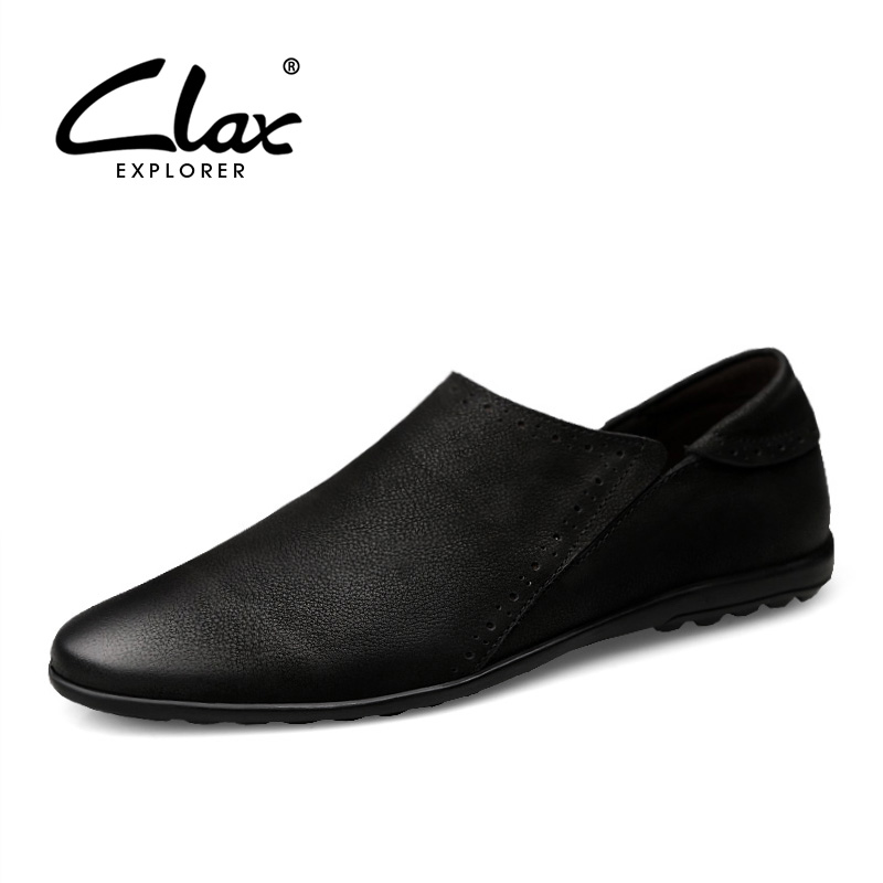 CLAX Men's Loafers Fashion 2018 Summer Genuine Leather Boat Shoe Man Casual leather Footwear Slip ons Breathable Leisure Shoe clax men s casual shoes fashion leisure shoe 2018 spring summer men leather footwear breathable handmade loafers sewing sole