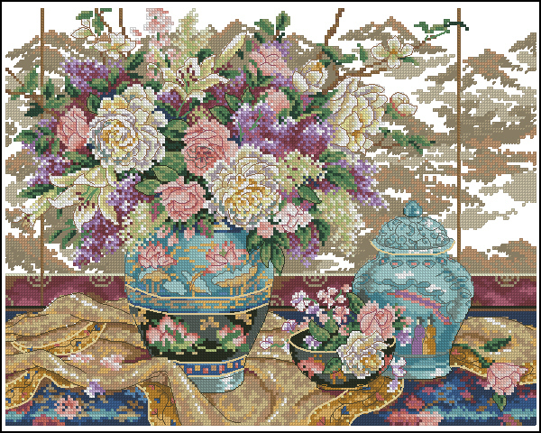 Lovely Gold Collection Counted Cross Stitch Kit Oriental Splendor Peony Peonies Bouquet Flower Vase Flowers Dim 01499 1499