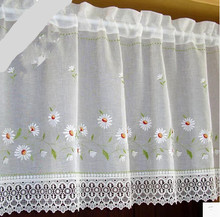 Embroidery curtain  cabinet coffee half window water soluble lace gauze curtain short