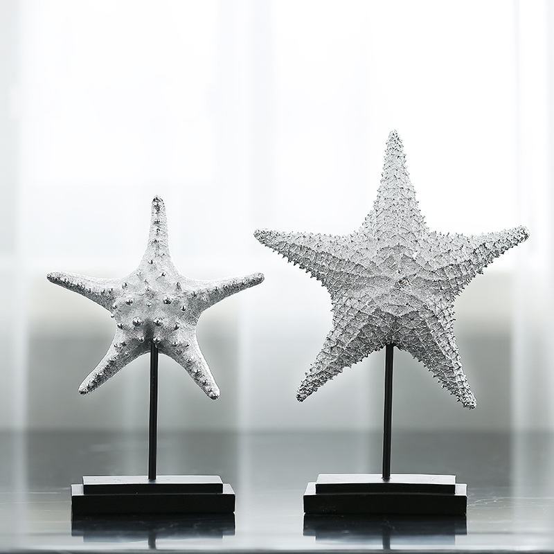 Modern Resin Silver sea Star Model living room Creative simple European style home decoration Furnishing article Christmas gift