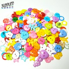 HANLV 100pcs Mix Styles Random  Plastic Buttons For Childrens Apparel Sewing Accessories DIY Scrapbooking