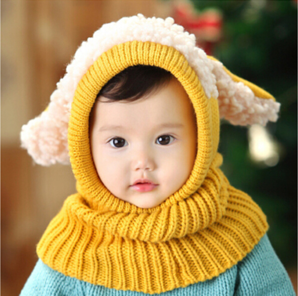 0244f304a33 2019 winter baby hat and scarf puppy design hooded crochet scarf girl boy  toddler kids neck warmer snow cap photography props-in Hats   Caps from  Mother ...