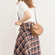 Fashion Saddle Split Leather Messenger Bag Strap Women Shoulder Round Shape Solid Color Crossbody Bags For