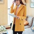 De alta Calidad a largo OutWear mujeres de la chaqueta de Doble Botonadura Abrigo de Lana Delgada para mujer chaquetas de invierno y abrigos Chaqueta de Abrigo para las mujeres