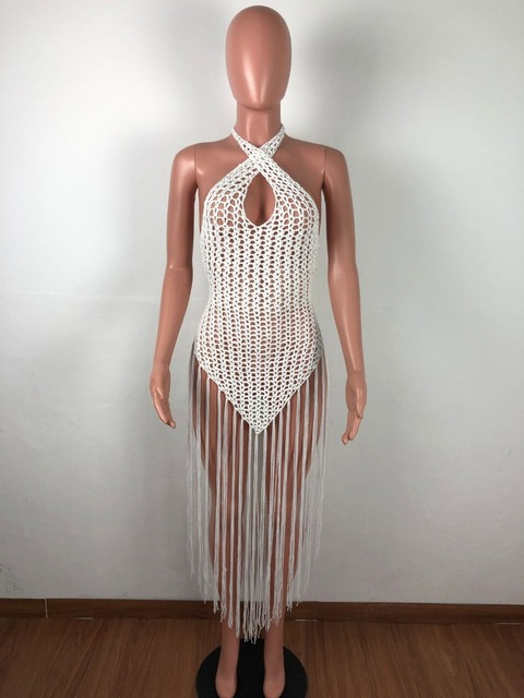 2019 summer Crochet hollow out tassel Beach Cover up dress sexy women bikini swimsuit Cover ups bathing suit Cover up Robe Plage 5