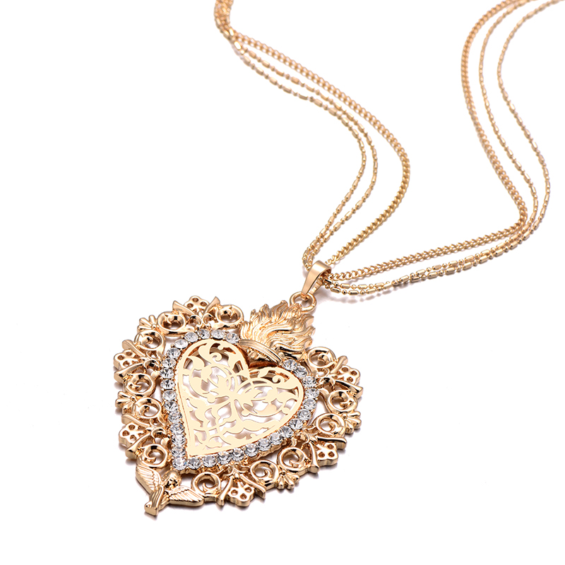 HTB1Eu1mXQfb uJkHFrdq6x2IVXa6 - New Gold Flower Heart Angle Glory Pendant Necklace Crystal Long Sweater Collar Women Vintage Jewelry dropshipping Best Gift