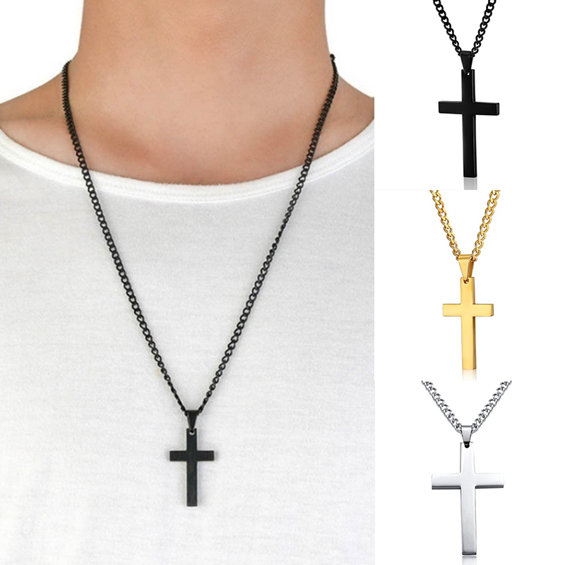 4 Colors Hot Plated Christian Men Link Chain Necklaces Pendant Stainless Cross Solid Color Korean Version Choker Jewelry Gift