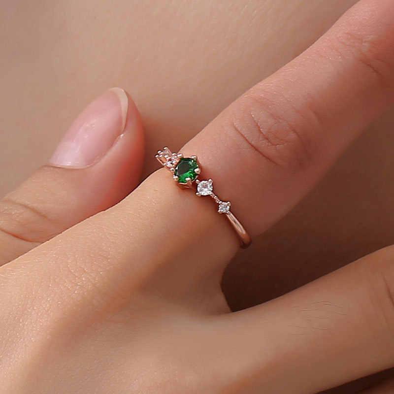 แผ่นสีเงินแหวนผู้หญิงวินเทจสีเขียว/ขาว/สีชมพูแหวนทองแดงแฟชั่นคริสตัลCZ Rose Goldสีแหวน