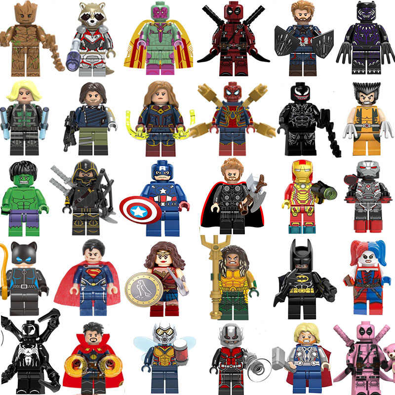 Super Heroes Figures 30set Mini Avengers Marvel DC figures Captain Ironman Thor Batman Aquaman Deadpool Kids toy gifts Wholesale