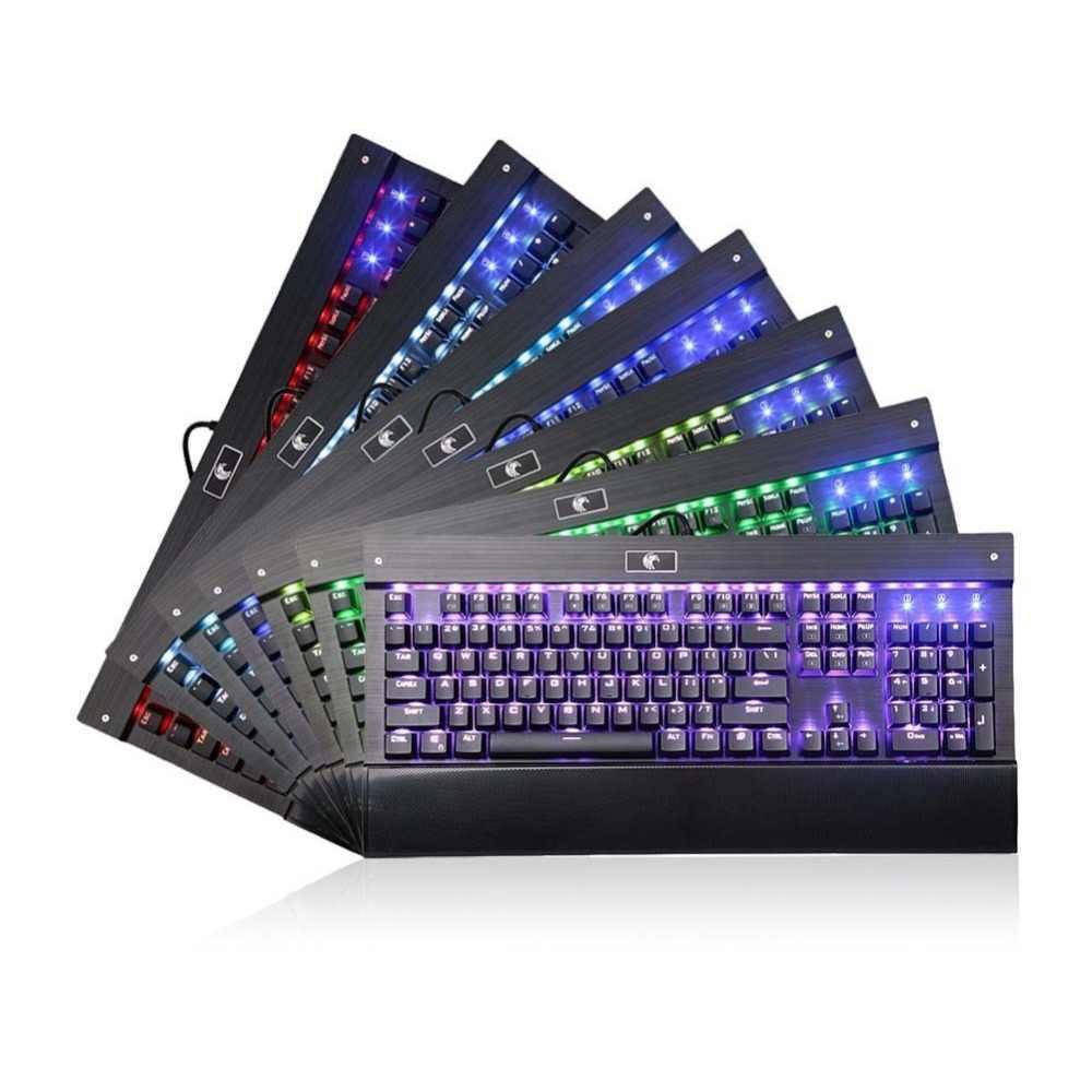 Z-77 Орел Механическая игровая клавиатура с подставкой для запястья RGB светодиодный с подсветкой Clicky синий переключатель антипривидная алюминиевая клавиатура геймера