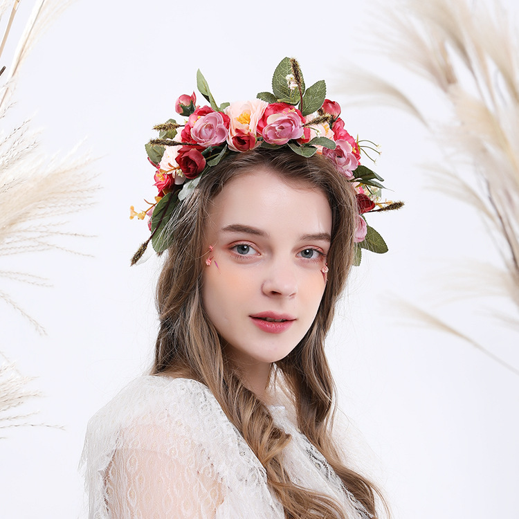 Bohemian Forest Queen Bridal Wreath Lady Big Flower Hair Band Pink Flowers Green Leaves Bridesmaid Headdress Wedding Accessories in Bridal Headwear from Weddings Events