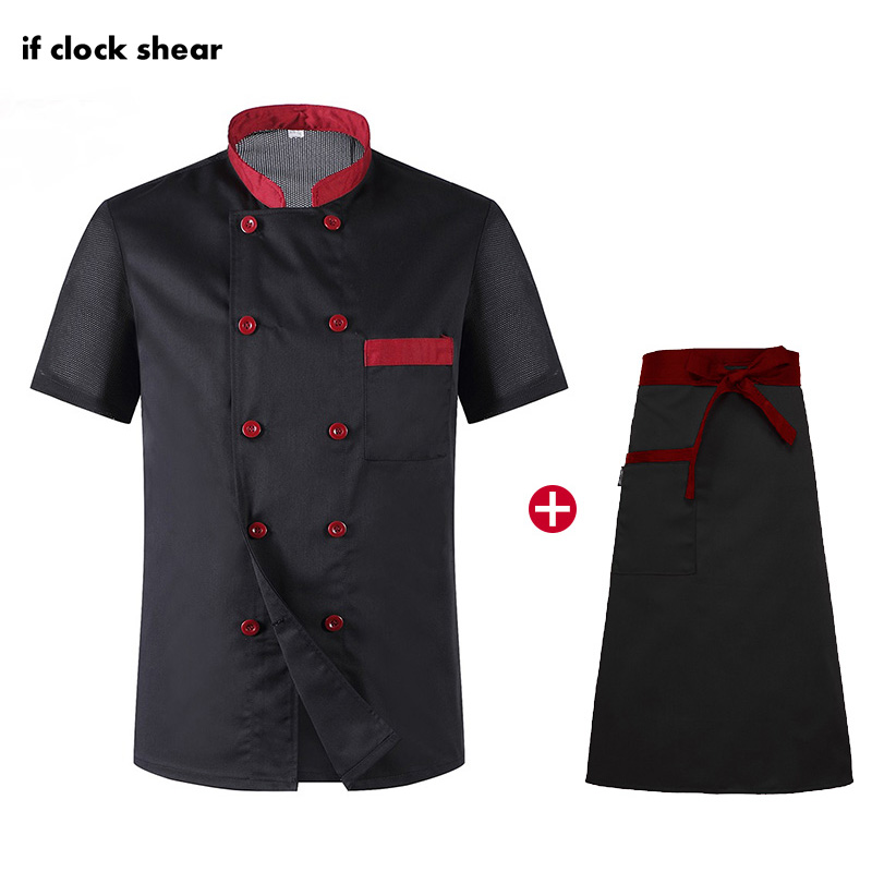 Short Sleeve Chef Restaurant Hotel Kitchen Uniforms Catering Workwear Unisex Black Breathable Thin Jacket+Apron Summer Wholesale
