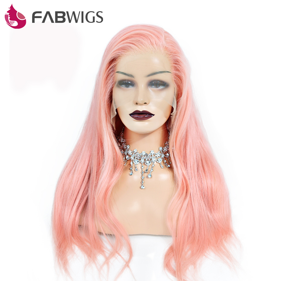 Fabwigs Full Lace Human Hair Wig With Baby Hair Pre Plucked Pure Pink Human Hair Wigs For Women European Remy Hair