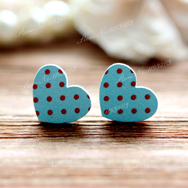 16mm  Heart Shape  Image Painted Wooded Laser Cut Cabochon to make Rings, Earrings, Bobby pin, pendant