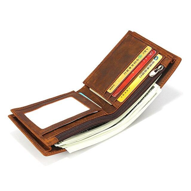 Винтаж crazy horse кожа мужчины бумажник Простой Натуральная кожа Короткие Двойные кошелек Мужская кредитница на молнии мужской кошелек для монет Кошельки