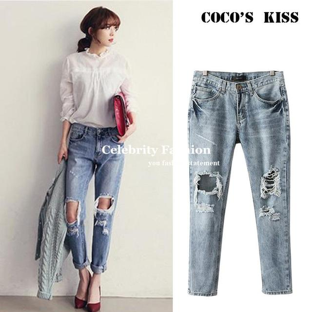 23e3459bca1 2014 Hot Sale Celeb Rolled Up Ripped Boyfriend Trouser Jeans Women Loose Fit  Demin Washed Pant Plug Size 27-31 Free Shipping