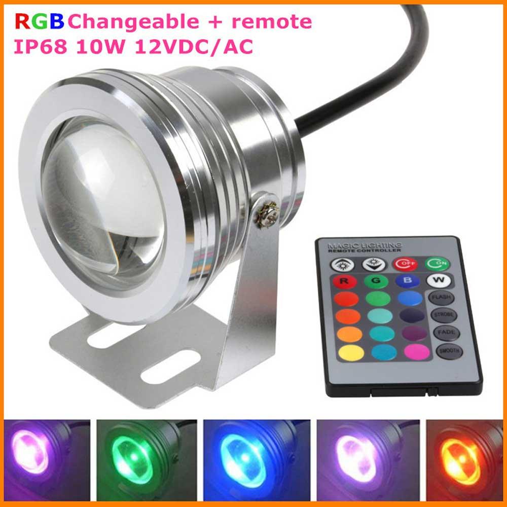 16 Kleuren 10 W DC 12 V RGB LED Onderwater Fontein Licht 1000LM ...