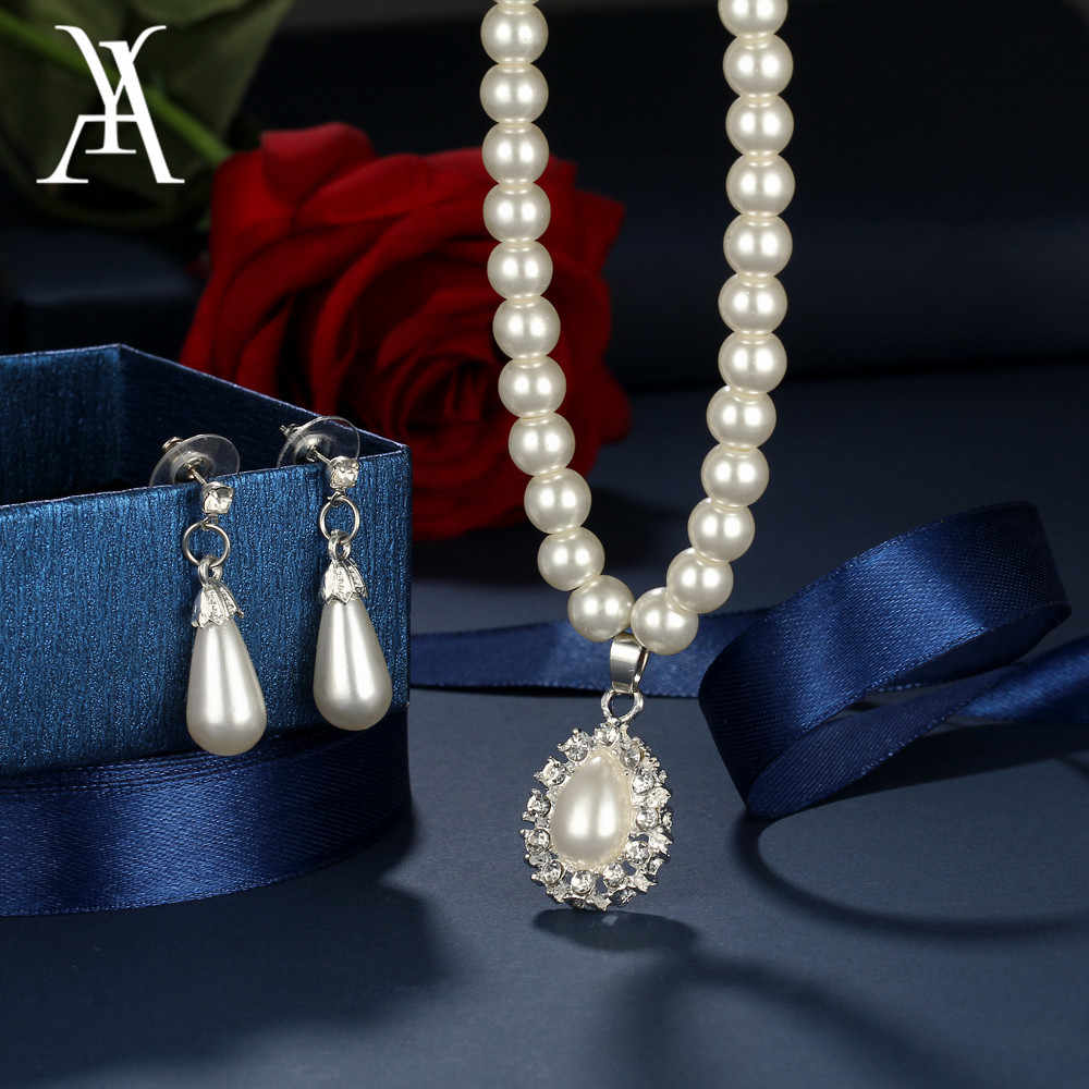AY Trendy Simulated Pearl Water Drop Jewelry Sets for Women Crystal Statement Pendant Necklace Drop Earrings Wedding Gifts