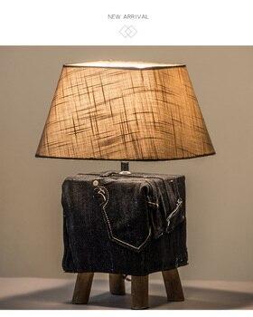Nordic Miimalist Jeans Table Lamp Living Room Fashion Natural Wooden Bedroom Bedside Night Light Decor Table Lights E27 Abajurs