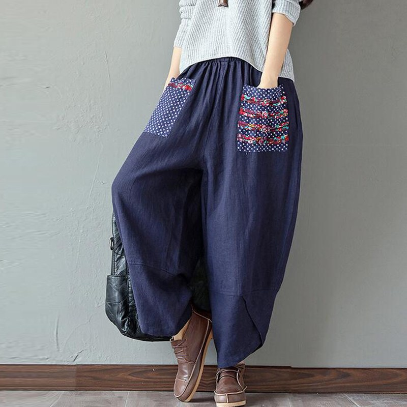 2020 ZANZEA Autumn Women Elastic Waist Cotton Linen Oversized Harem Pants Baggy Pantalon Retro Print Casual Loose Long Trousers