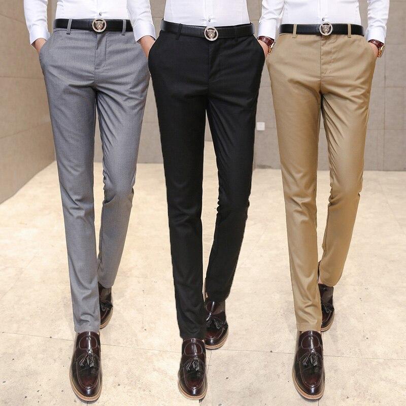 Autumn Mens Clothing Suit Trousers /Men High-grade Pure Color Slim Fit Business Suit Pants Men High-end Leisure Thin Leg Pant