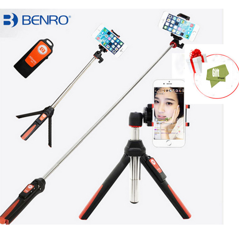 Vitopal BENRO Handheld Tripod 3 in 1 Self-portrait Monopod Phone Selfie Stick Bluetooth Remote Shutter for Gopro iPhone Sumsang sc1 carbon fiber smartphone tripod handheld mini phone action camera gopro selfie stick wireless bluetooth remote shutter
