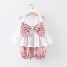 Childrens suit summer 2019 new girls Korean fashion big bow set two childrens