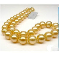 GENUINE Huge 18 Round 10 9 mm AAA south sea golden pearls Necklace Gold >Selling jewerly free shipping