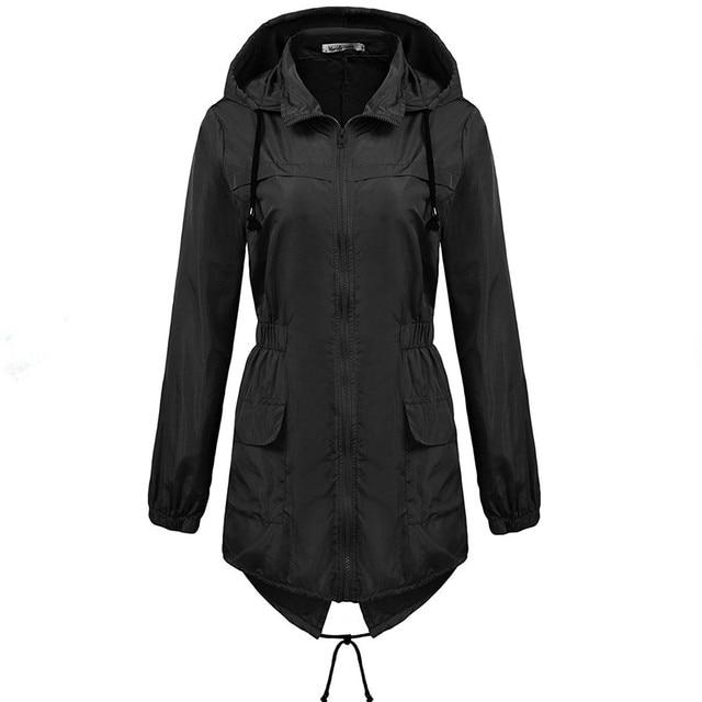 Macr&Steve Womens Raincoat Lightweight Hooded Waterproof Active Rain Jacket  Solid Casual Rainwear