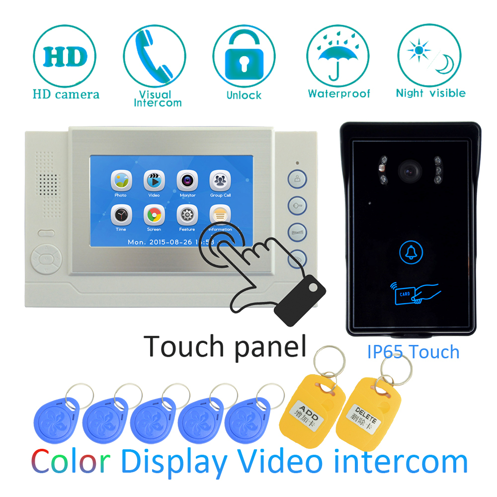 (1 SET) Video Intercom Home Garden Improvement Door Phone 7'' Monitor With RFID Card Unlock Release Function Door Bell System 125khz rfid card access control video door phone system wired 7 inch color screen video door bell with rfid card reader