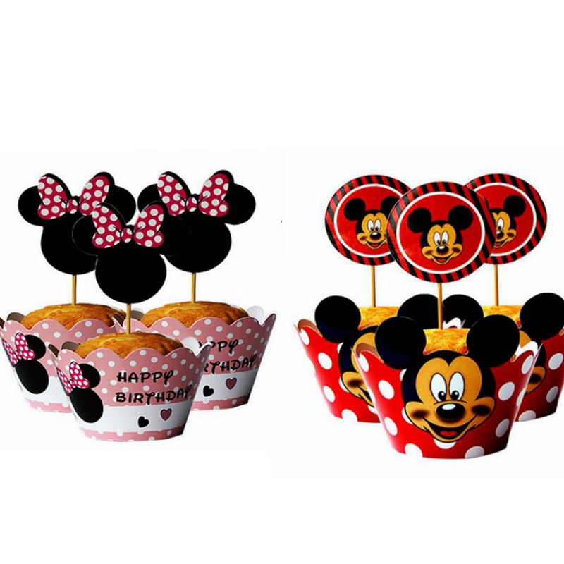 Minnie Mouse Paper Cupcake Wrappers /& Toppers For Kids Birthday Party 24Pcs