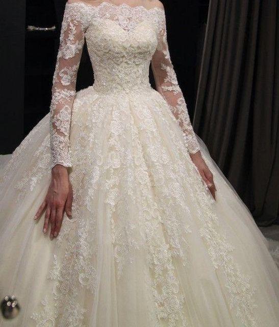 יפה תחרה חתונה שמלות Seuqins אפליקציות כדור שמלה כבוי כתף אשליה ארוך שרוול כלה שמלות 2019