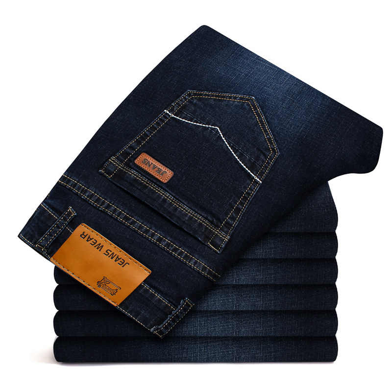 GEJIAN Men's New Jeans Summer Fashion Stretch Jeans Casual Regular Slim Straight Pants Solid Breathable Business Jeans Men
