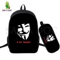 V for Vendetta 2 Pcs/set Backpack School Bags for Teenagers Girls Boys Laptop Backpack Women Men Leisure Travel Bags