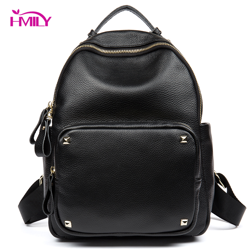 HMILY Backpack Women Genuine Leather Women Bag Classic Black Ladies Travel Bag Daily School Bag Student Cow Leather Daypack cow genuine leather backpack female leisure style school bag ladies high quality leather daily bag women soft travel bag n140