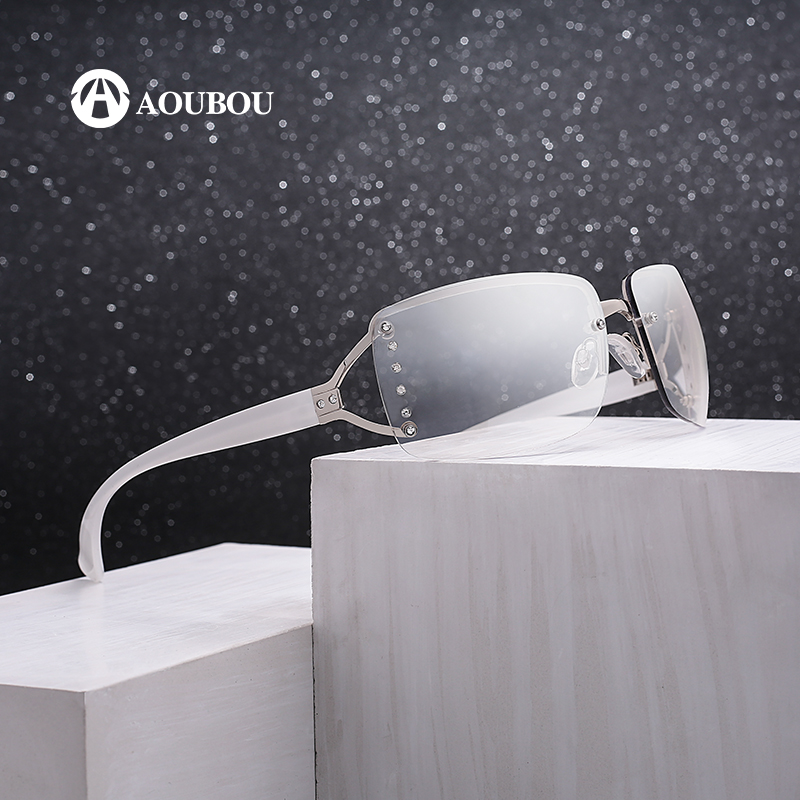 Vintage Rimless napszemüveg nők luxus Diamond Design fehér négyzet keret márka Box dames