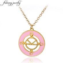 feimeng jewelry Kingsman Necklace Charm Pink Enamel The Secret Service Pendant Necklace Fashion Accessories