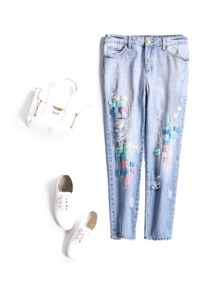 ФОТО The new Europe and the United States women's 2017 spring Hole net beaded spell color line haroun pants, jeans