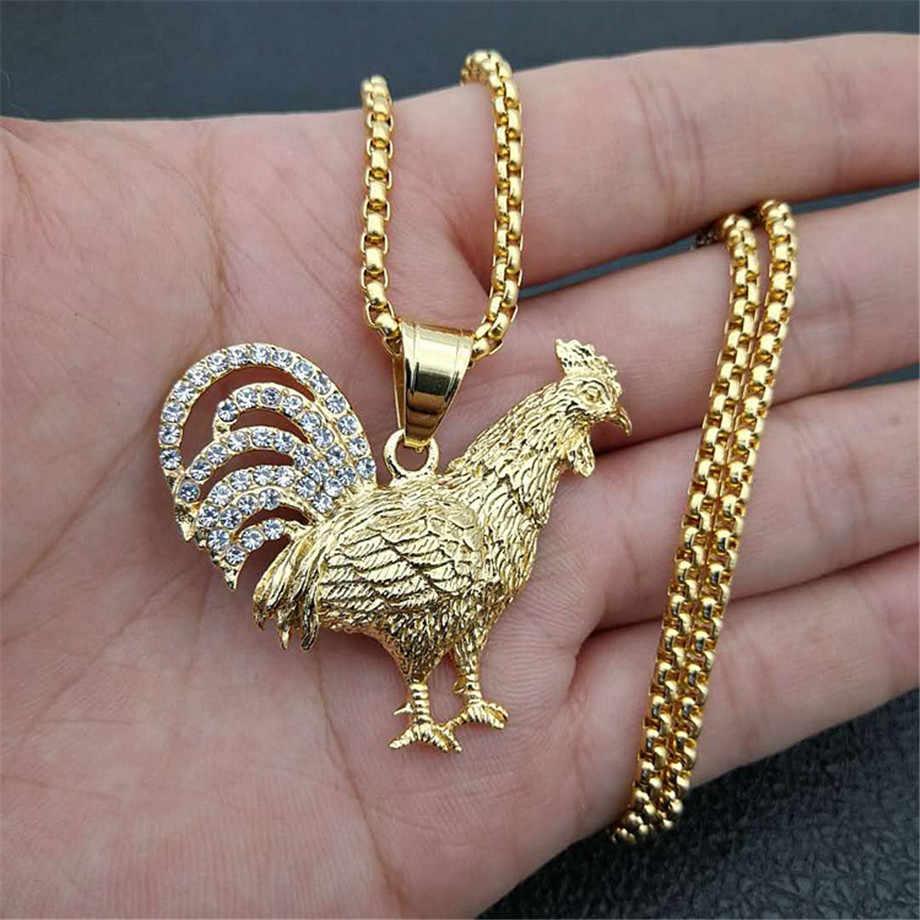 Hip Hop Iced Out Bling galusowy kogut wisiorek naszyjnik dla mężczyzn/kobiet złoty kolor ze stali nierdzewnej francuski biżuteria prezent collier