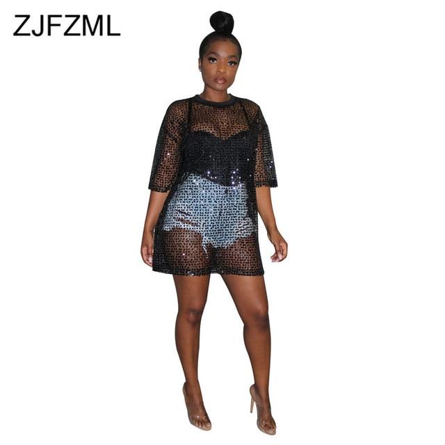 dafddf075d129e Paillettes scintillantes Sexy Club robe de soirée femmes noir maille  Patchwork voir à travers Mini d'été O cou demi manches lâche