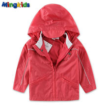 Mingkids High quality windbreaker jacket for baby boys waterproof with cotton lining outdoor raincoat hood Sport Autumn Spring
