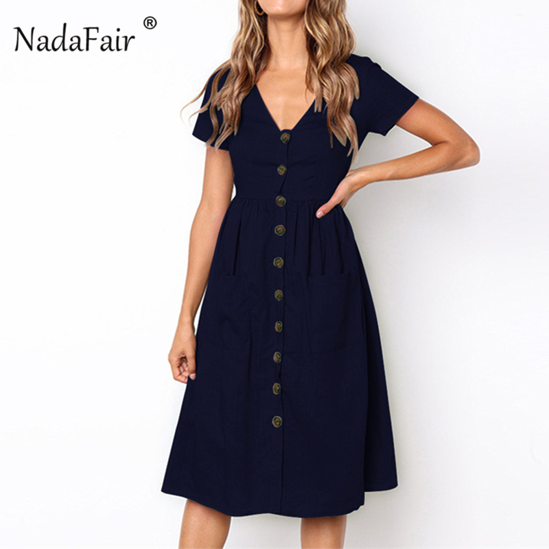 Nadafair Button Cotton Linen Midi Dress Women Plain Color Short Sleeve Vintage Dress Pocket High Waist V Neck Summer Dress 2018